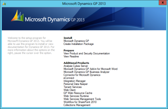 Microsoft Dynamics GP 2013 Setup Utility