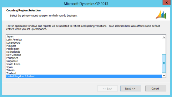 Microsoft Dynamics GP 2013 Setup Utility - Country/Region Selection