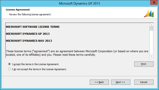 Microsoft Dynamics GP 2013 Setup Utility - License Agreement