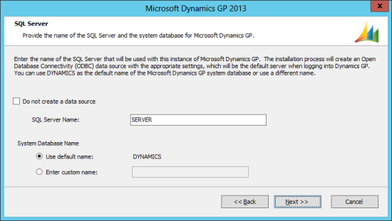 Microsoft Dynamics GP 2013 Setup Utility - SQL Server