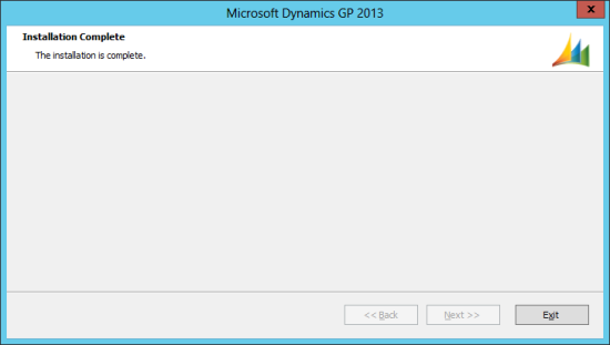 Microsoft Dynamics GP 2013 Setup Utility - Installation Complete