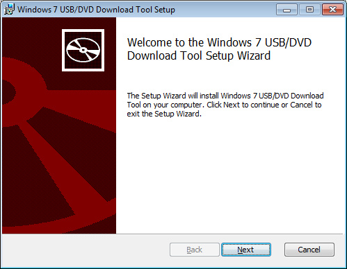 Welcome to the Windows 7 USB/DVD Download Tool Setup Wizard