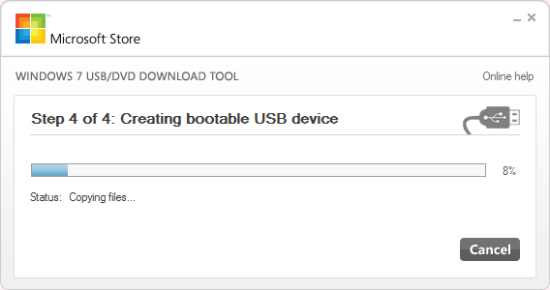 Step 4 of 4: Creating bootable USB device