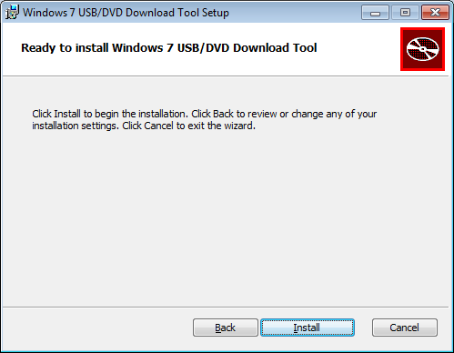 Ready to install Windows 7 USB/DDV Download Tool