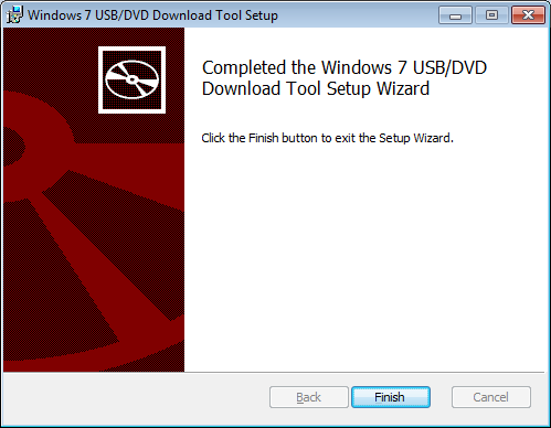 Completed the Windows 7 USB/DVD Download Tool Setup Wizard