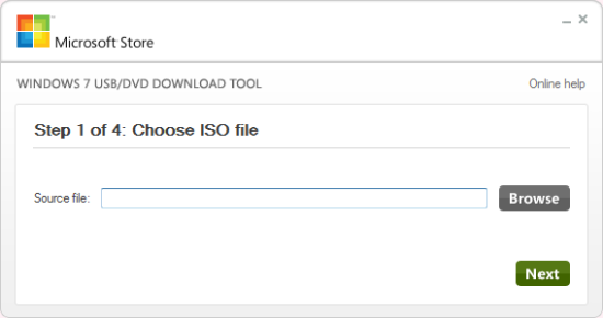 Step 1 of 4: Choose ISO file