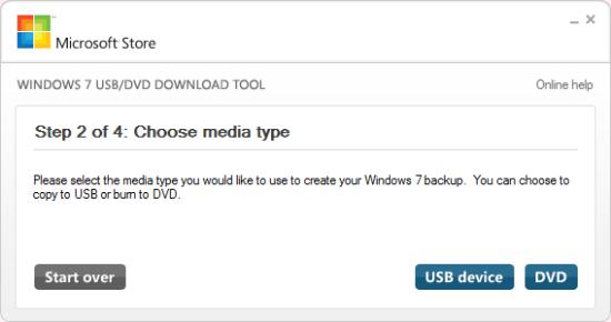 Step 2 of 4: Choose media type