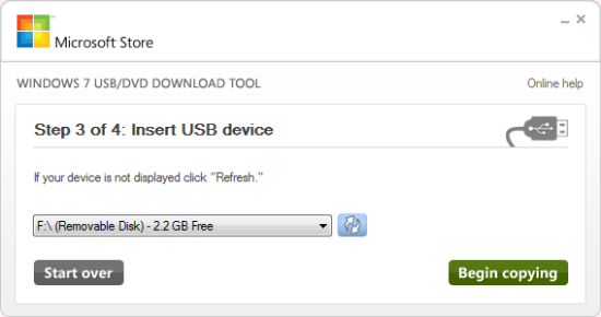 Step 3 of 4: Insert USB device