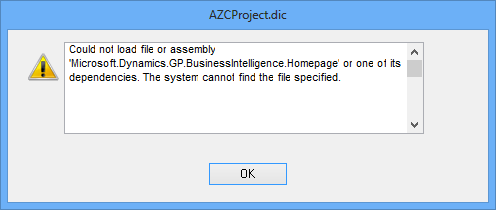 AZCProject.dic - Could not load file or assembly. 'Microsoft.Dynamics.GP.BusinessIntelligence.Homepage' or one of its dependencies. The system cannot find the file specified