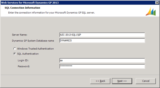 Web Services for Microsoft Dynamics GP 2013 - SQL Connection Information