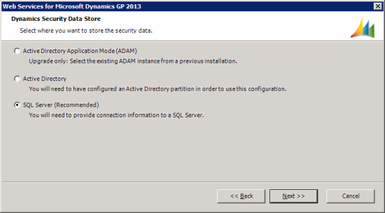 Web Services for Microsoft Dynamics GP 2013 - Dynamics Security Data Store