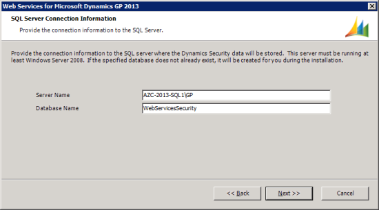 Web Services for Microsoft Dynamics GP 2013 - SQL Server Connection Information for Dynamics Security Data Store