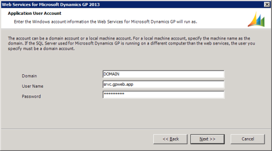 Web Services for Microsoft Dynamics GP 2013 - Application User Account