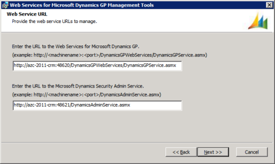 Web Services for Microsoft Dynamics GP Management Tools - Web Service URL