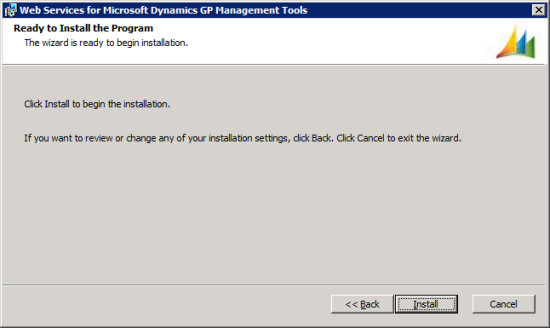 Web Services for Microsoft Dynamics GP Management Tools - Ready to Install the Program