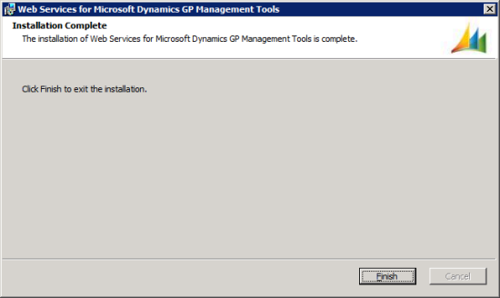 Web Services for Microsoft Dynamics GP Management Tools - Installation Complete