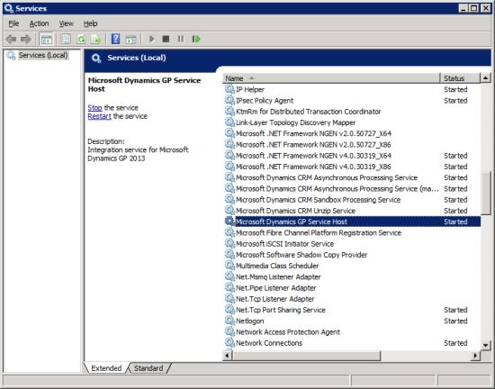 Services - Microsoft Dynmaics GP Service Host