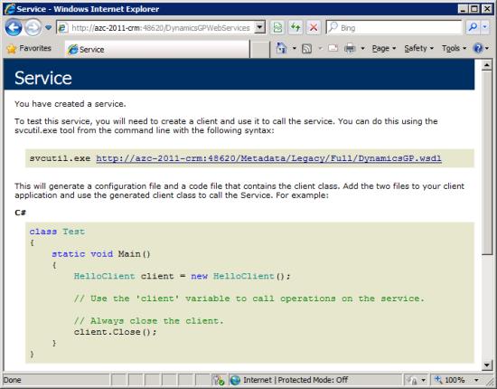 Internet Explorer - Dynamics GP service legacy endpoint