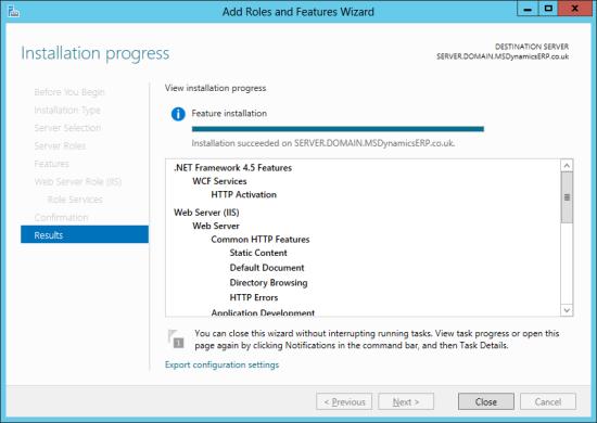 Server Manager - Installation progress