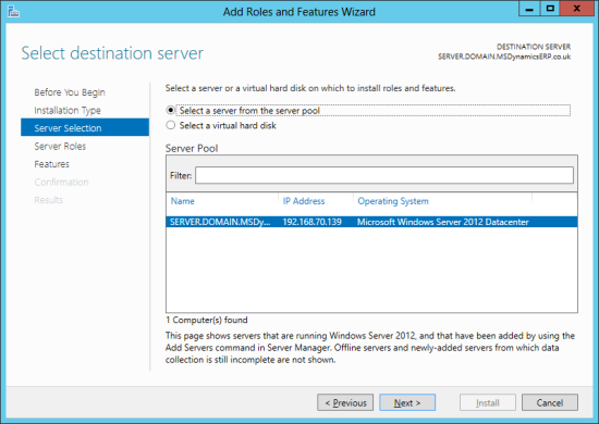 Server Manager - Select detination server