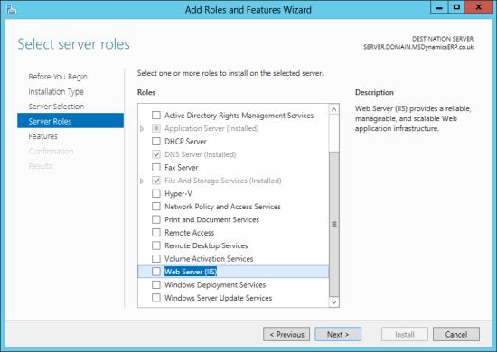 Server Manager - Select server roles