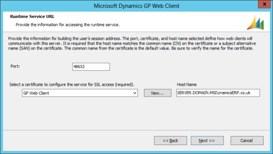 Microsoft Dynamics GP 2013 setup utility - Runtime Service URL