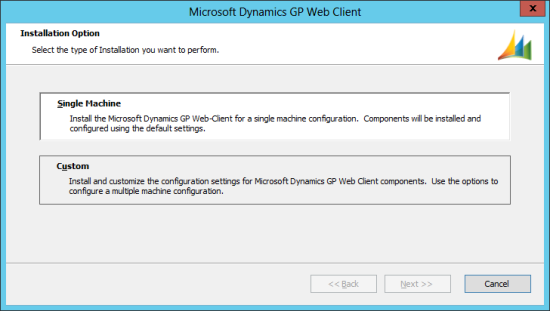 Microsoft Dynamics GP 2013 setup utility - Installation Option