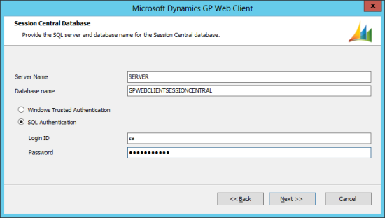 Microsoft Dynamics GP 2013 setup utility - Session Central Database