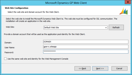 Microsoft Dynamics GP 2013 setup utility - Web Site Configuration