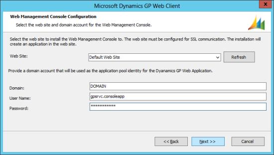 Microsoft Dynamics GP 2013 setup utility - Web Management Console Configuration
