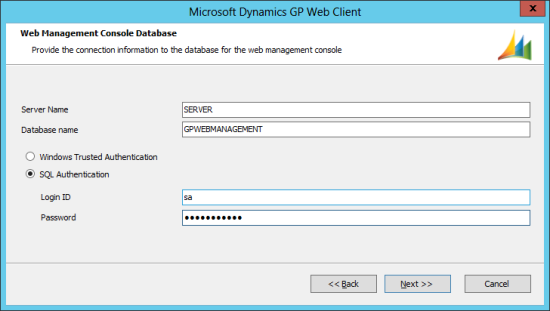 Microsoft Dynamics GP 2013 setup utility - Web Management Console Database