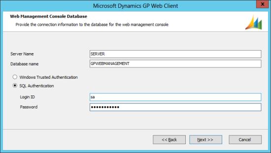 Microsoft Dynamics GP 2013 setup utility - Web Management Console Database