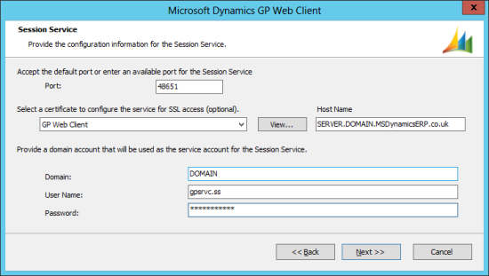 Microsoft Dynamics GP 2013 setup utility - Session Service