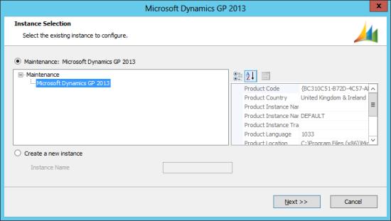 Microsoft Dynamics GP 2013 setup utility - Instance Selection