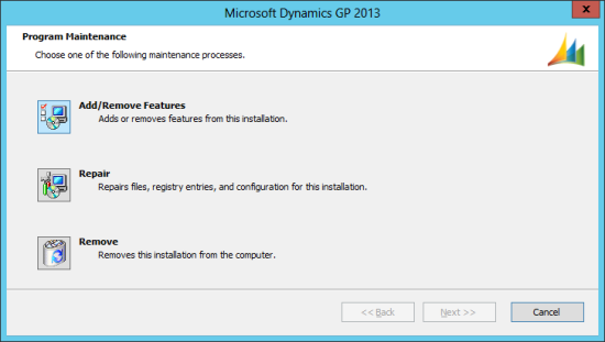 Microsoft Dynamics GP 2013 setup utility - Program Maintenance