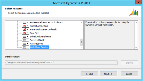 Microsoft Dynamics GP 2013 setup utility - Select Features