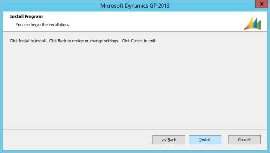 Microsoft Dynamics GP 2013 setup utility - Install Program
