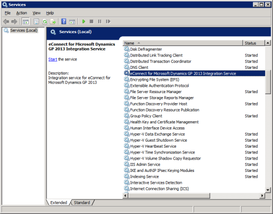 Services - eConnect for Microsoft Dynamics GP 2013 Integration Service
