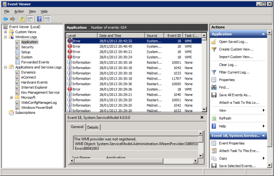 Event Viewer >> Windows Logs >> Application