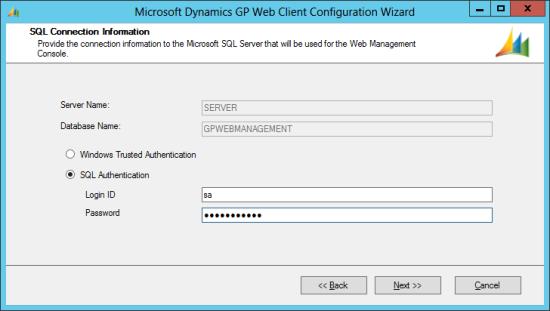 Microsoft Dynamics GP Web Client Configuration Wizard - SQL Connection Information