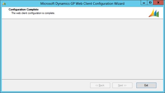 Microsoft Dynamics GP Web Client Configuration Wizard - Complete