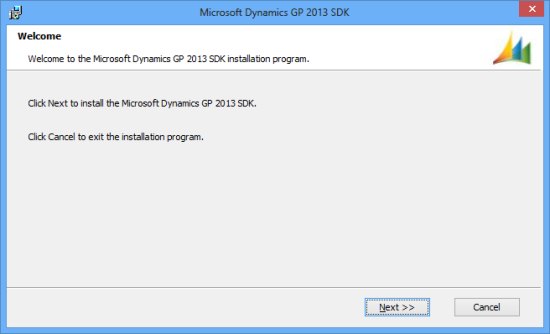 Microsoft Dynamics GP 2013 SDK setup utility - Welcome