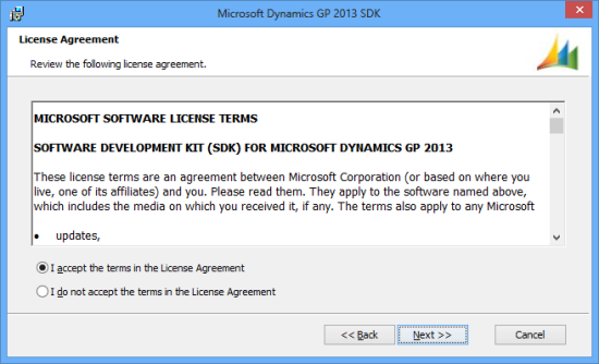 Microsoft Dynamics GP 2013 SDK setup utility - License Agreement