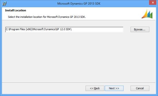 Microsoft Dynamics GP 2013 SDK setup utility - Install Location