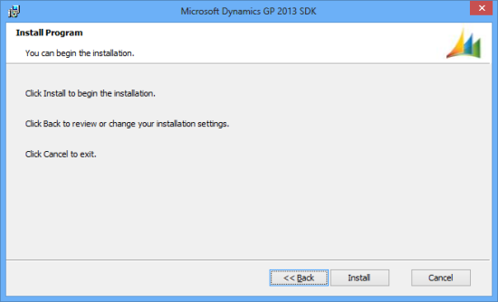 Microsoft Dynamics GP 2013 SDK setup utility - Install Program