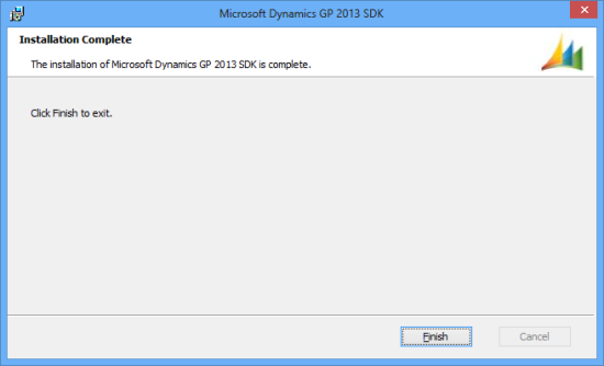 Microsoft Dynamics GP 2013 SDK setup utility - Installation Complete