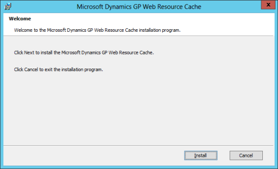 Microsoft Dynamics GP 2013 setup utility - Welcome