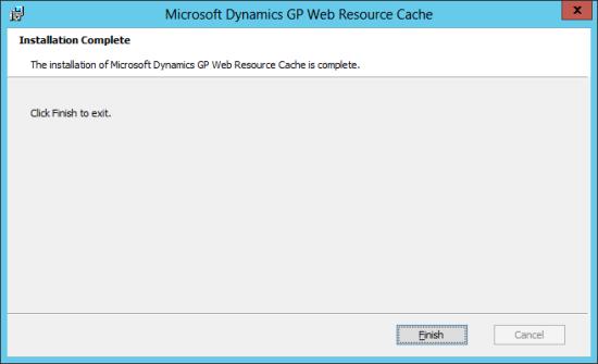 Microsoft Dynamics GP 2013 setup utility - Installation Complete