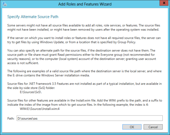Add Roles and Features Wizard - Specify Alternative Source Path