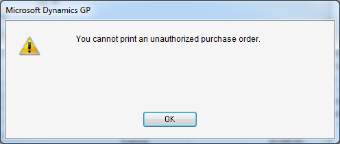 You cannot print an unauthorized purchase order